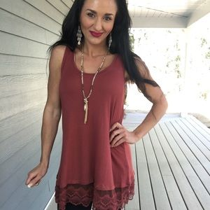 New Rust lace trim tunic
